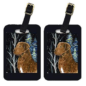 Starry Night Chesapeake Bay Retriever Luggage Tags Pair of 2