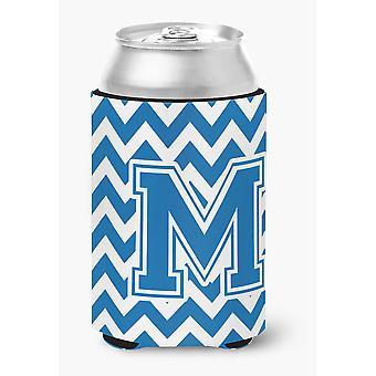 Letter M Chevron blauw en wit kunnen of fles Hugger