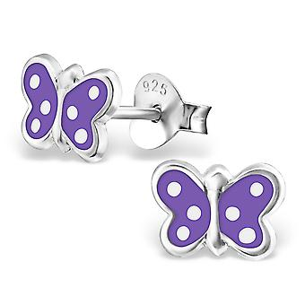 Butterfly - 925 Sterling Silver Colourful Ear Studs - W18912x