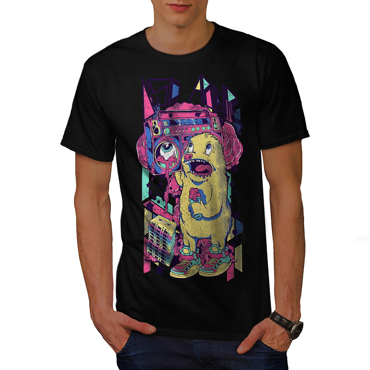 Monster Boom Box Music Men Black T-shirt | Wellcoda