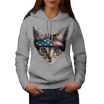 Cat USA Women GreyHoodie | Wellcoda