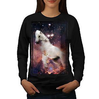 Horse Cosmos Galaxy Women BlackSweatshirt | Wellcoda