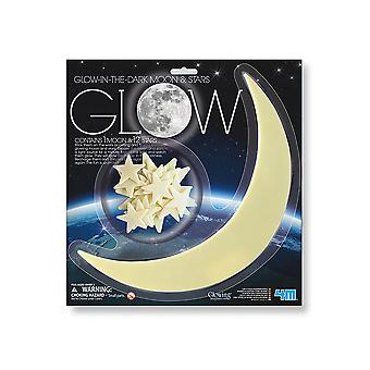 Giant Glow In The Dark Crescent Moon and 12 Assorted Stars | Outer Space Crafts