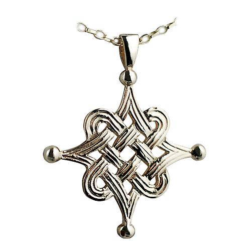9ct Gold 32x32mm Celtic Islamic design Pendant with a belcher Chain 16 inches Only Suitable for Children