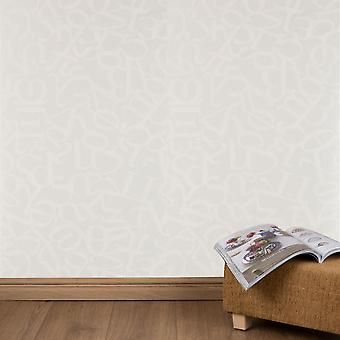 Graham & Brown Cream Wallpaper Roll - Patterned Alphabet Design - Colour: 18263