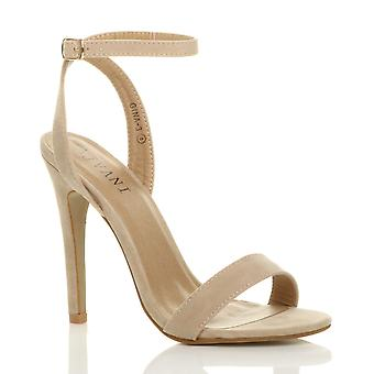 Apenas hay sandalias de tiras de la correa del tobillo de Ajvani mujeres de tacón alto plataforma zapatos