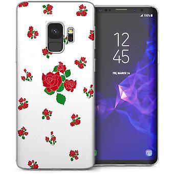 Samsung Galaxy S9 Red Rose Print Gel Case – White