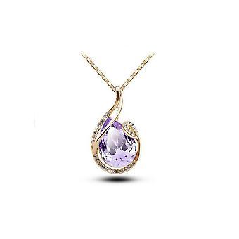 Womens Large Light Purple Teardrop Stone Pendant Necklace