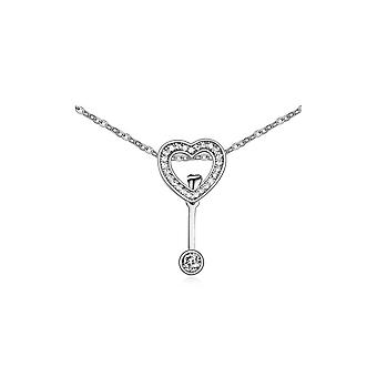 Necklace Crystal Cubic Zirconia white heart and Rhodium plate