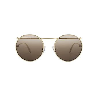 Alexander McQueen Piercing Bar Metal Round Sunglasses In Gold