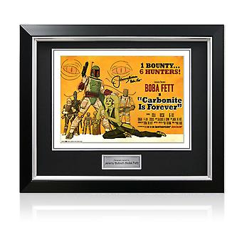 Signed Boba Fett Carbonite Is Forever Poster In Deluxe Black Frame With Silver Inlay