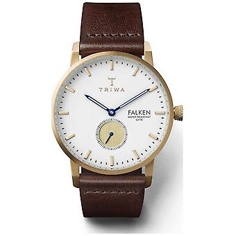 Triwa Mens Snow Falken Brown Leather Strap White Dial FAST110-CL010413 Watch