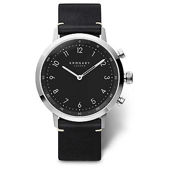 Kronaby 41mm NORD Black Leather Strap Stainless Steel Case A1000-3126 Watch