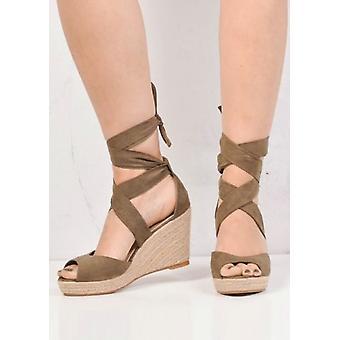 Solmia Espadrille kiila sandaalit Suede Khaki vihreä