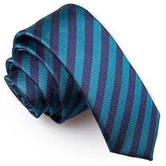 Marineblau & Teal dünnen Streifen schmaler Krawatte