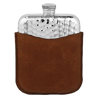 Hammered Pewter Purse Flask in Leather Pouch - 6oz