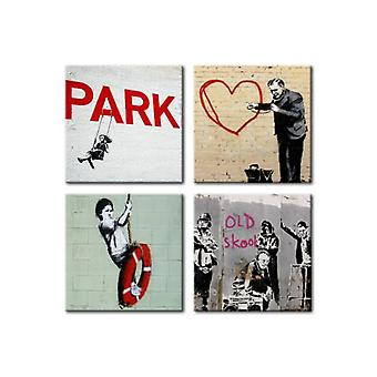 Artgeist Canvas Print Banksy Urban Inspiration (Decoration , Pictures and frames)
