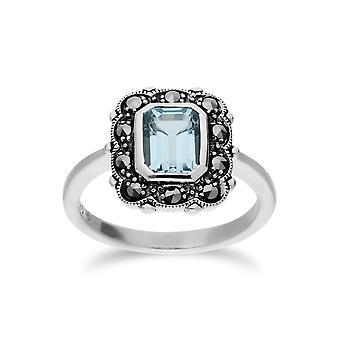 Gemondo Sterling Silver Blue Topaz & Marcasite Octagon Art Nouveau Ring