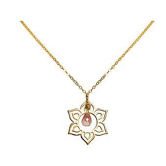 GEMSHINE kvinners halskjede i gullbelagt sølv YOGA Lotus blomst rose