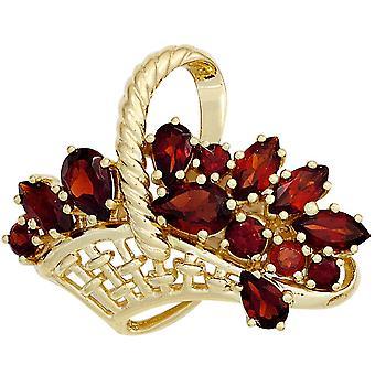 Brooch basket 333 gold 13 grenade Garnet brooch Garnet pin pendant-gold