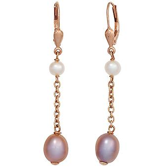 Boutons 925 sterling silver red gold plated 4 freshwater pearl earrings