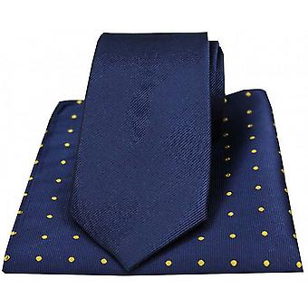David Van Hagen Ribbed Tie and Polka Dot Handkerchief Set - Navy