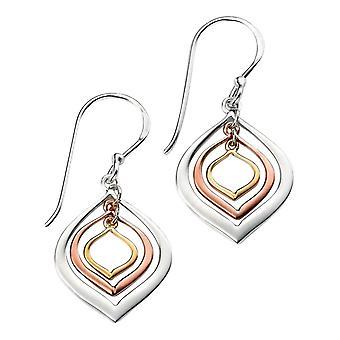 Elements Silver Triple Lantern Shaped Drop Earrings - Gold/Silver/Rose Gold