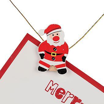 TRIXES 20PC trä pinnar Xmas Card hållare Santa Design med 180cm guld tråd