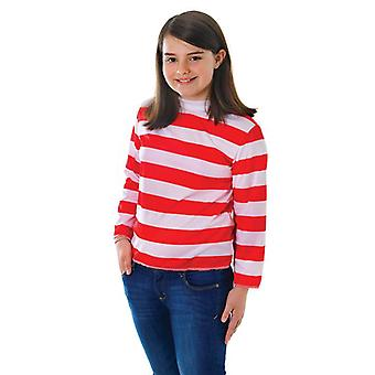 Red/White Striped Top, Large.