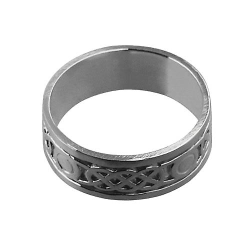 9ct White Gold 8mm Celtic Wedding Ring Size Y