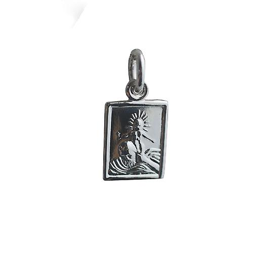 Silver 12x10mm rectangular St Christopher Pendant or Charm