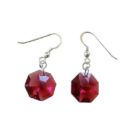 Dark Siam Red Swarovski Octagon Crystal 15mm Multifaceted Earrings