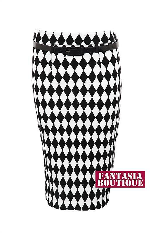 New Ladies Belted Black Harlequin Flock Pattern Women's Pencil Skirt