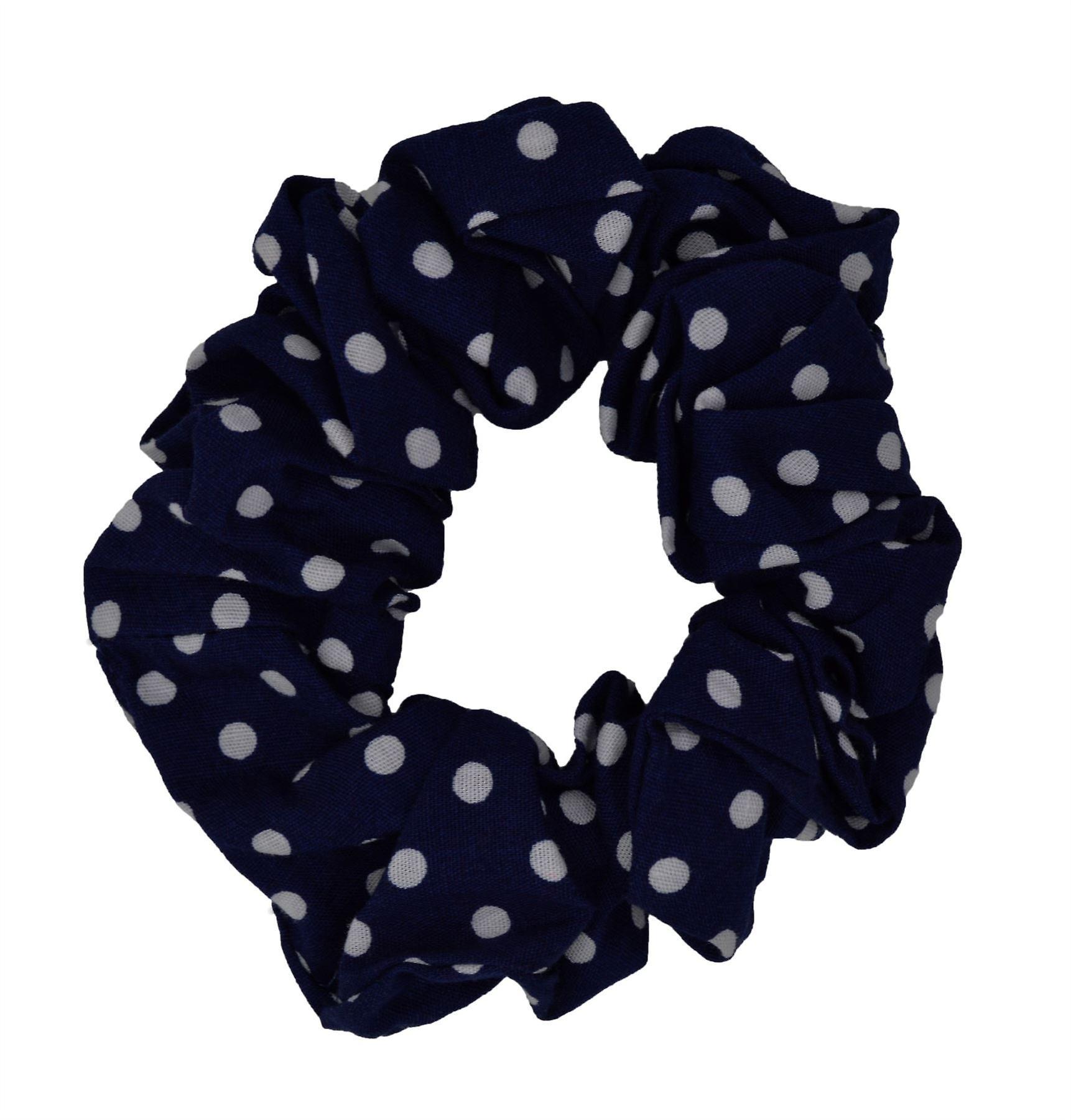 Blue Polka Dot Scrunchie