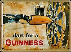 Guinness ''Dart for a..'' metal postcard / mini sign   (hi)