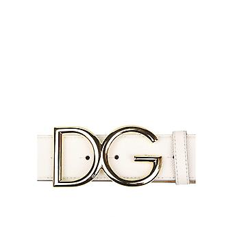Dolce E Gabbana White Leather Belt