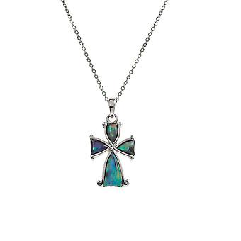 Eternal Collection Devotion Paua Shell Silver Tone Cross Pendant