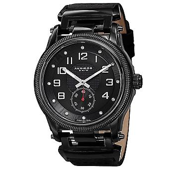 Akirbos XXIV AK815BK Men's Quartz Diamond-Accented Bold Leather Black Strap Watch