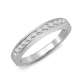 Jewelco London Ladies Solid 9ct White Gold Channel Set Round H I1 0.35ct Diamond Dainty Band Eternity Ring 3.5mm