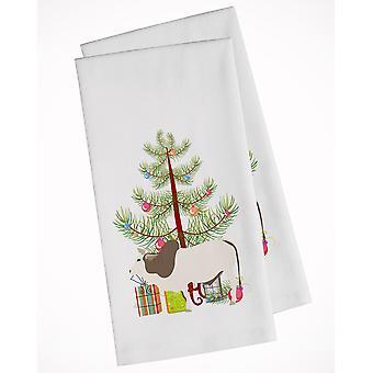 Carolines Treasures  BB9197WTKT Malvi Cow Christmas White Kitchen Towel Set of 2