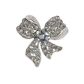 Ewige Sammlung Rokoko Schleife Multi Crystal Silber Ton Brosche