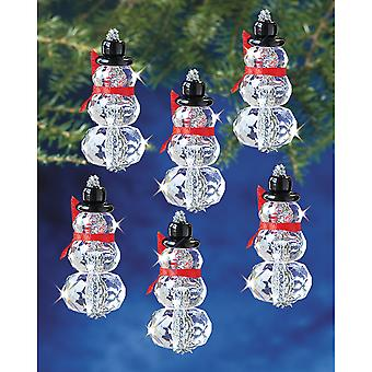 Holiday Beaded Ornament Kit Faceted Elegant Snowmen 2