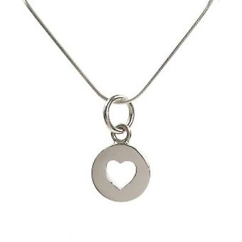 "Cavendish French Sterling Silver Closed Heart Pendant with 16 - 18"" Silver Chain"