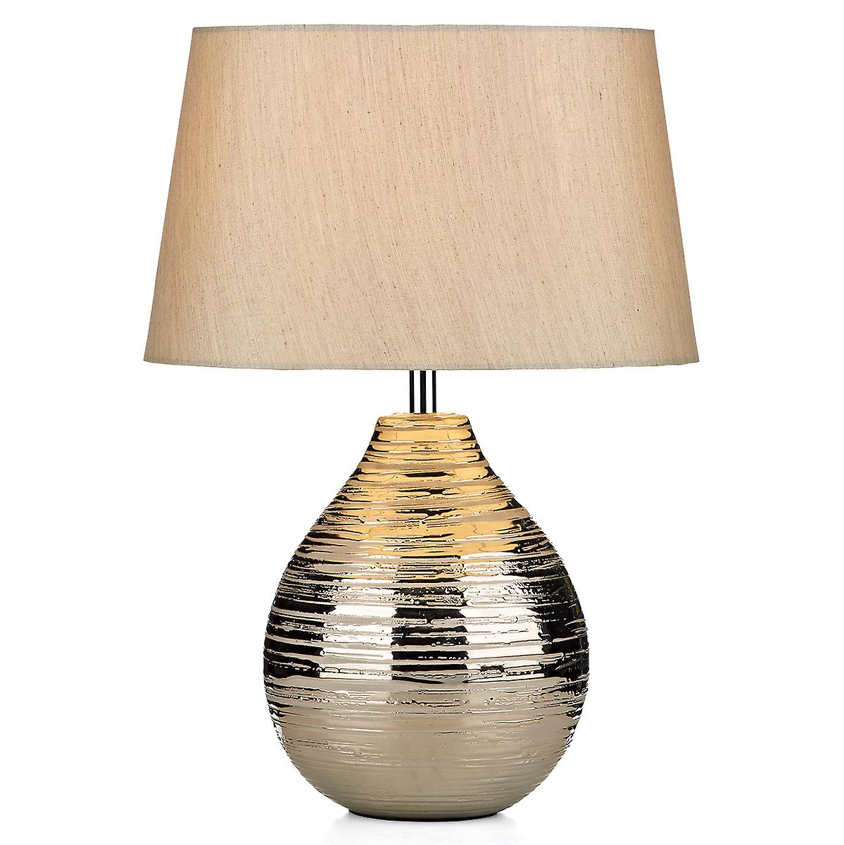 Dar GUS4032 Gustav Silver Ceramic Table Lamp With Silk Shade - 30cm