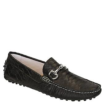 Black crocodile textured leather driving moccasins