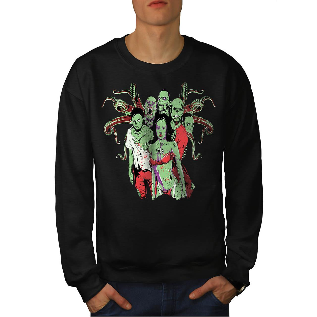 Crowd Gang Dead Zombie Men Black Sweatshirt | Wellcoda