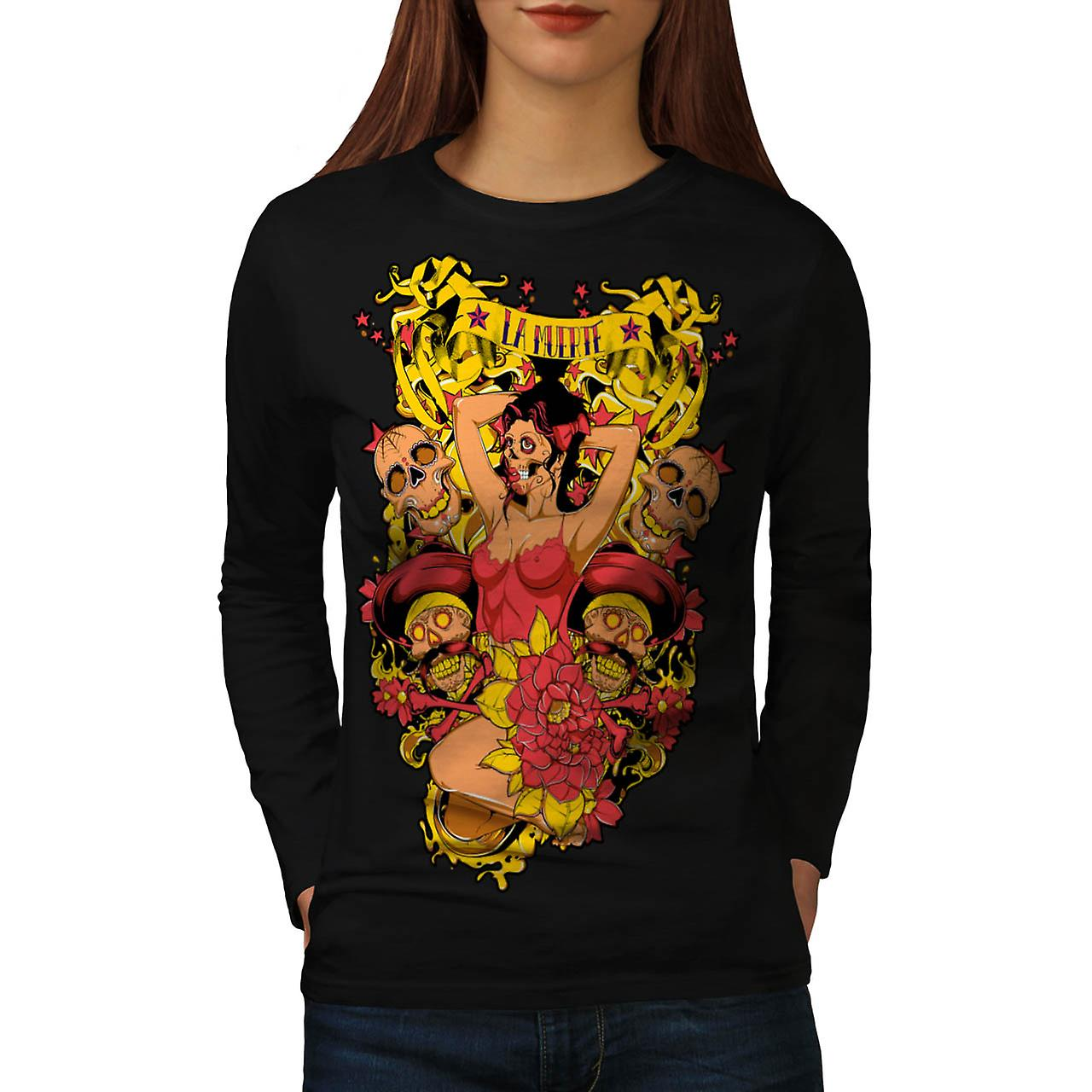 La Muerte Sexy Hot Zombie Women Black Long Sleeve T-shirt | Wellcoda