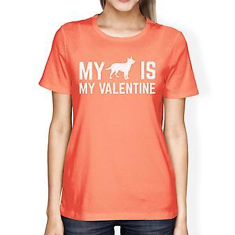 Mijn hond mijn V-Day Valentine Womens Peach T-shirt schattige hond Print Shirt