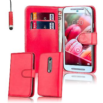 Book wallet leather case for Motorola Moto G3 (Moto G 3rd Gen, 2015) + stylus - Red