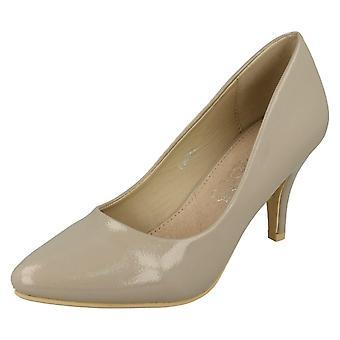 Ladies Spot On Patent Court Shoes F9905